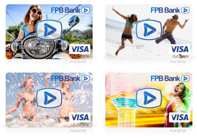 Разработка элементов визуальной коммуникации бренда: дизайн серии пластиковых карт для основного отделения ФПБ Банка.
